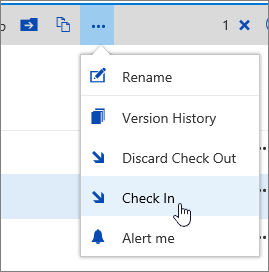 Document menu with Check In highlighted