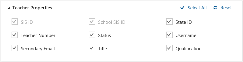 Screenshot from the SDS sync profile setup wizard displaying Teacher Properties
