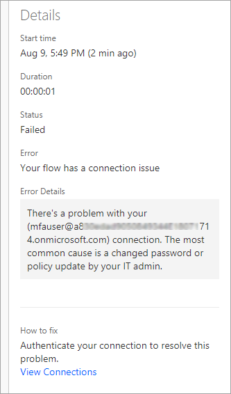 Details of the error message including Time, Status, Error, Error Details, and how to fix