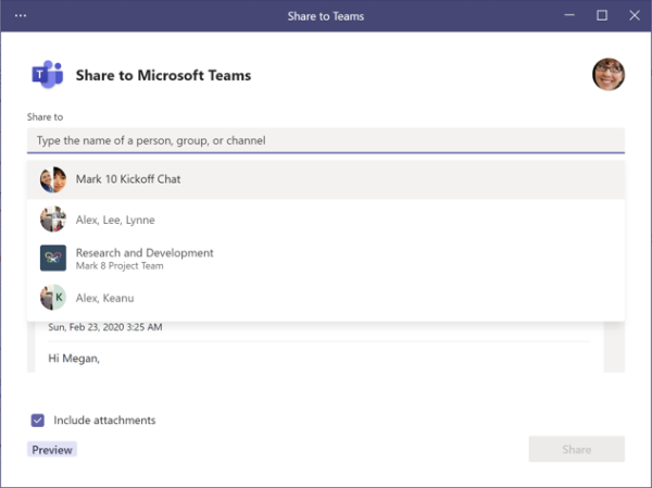 Share to Teams - choose recipients screen