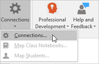 Select Connections in the Class Notebook tab.