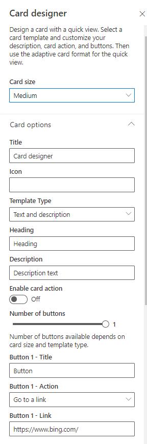 Card designer property pane