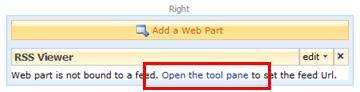 RSS Viewer Web Part showing the Open the tool pane link