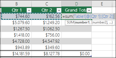 Add a single formula in a table cell that will autocomplete to create a calculated column