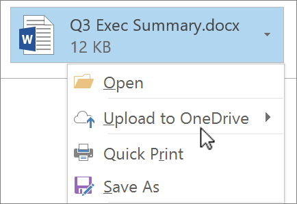 Screenshot of an Outlook compose window, showing an attached file with the Upload command selected.