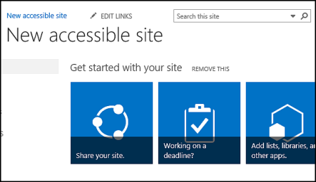Screenshot of new SharePoint site showing tiles used for customizing site