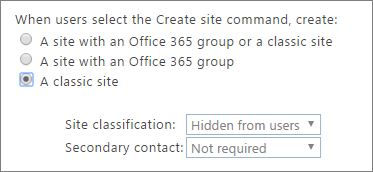 Site classification dropdown