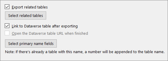 Check boxes to select about linking tables and auto-selecting related tables