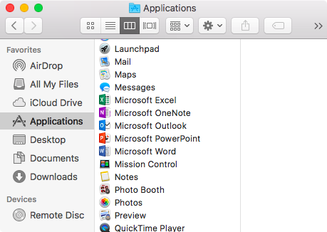 "Open Finder > Applications > Search for ""Microsoft"""