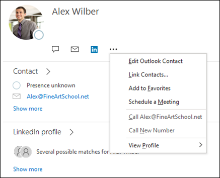 Select Link Contacts to update information from another contact record.