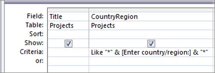 "Query design grid with the following criteria in the CountryRegion column: Like ""*"" & [Enter country/region:] & ""*"""
