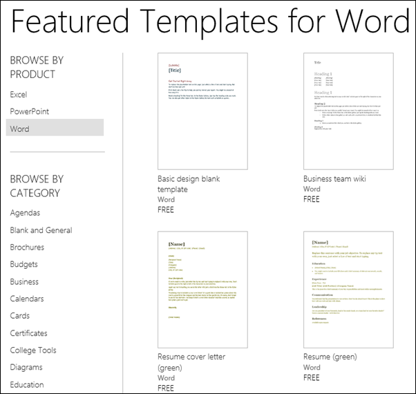 Word Online templates