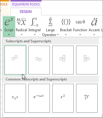 Superscript button on equation tool bar
