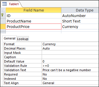Field validation rule displayed in Access table designer