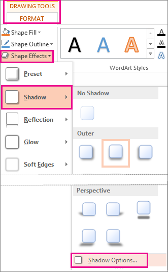Shadow Options accessed from the Drawing Tools Format tab, Shape Effects, and then clicking Shadow