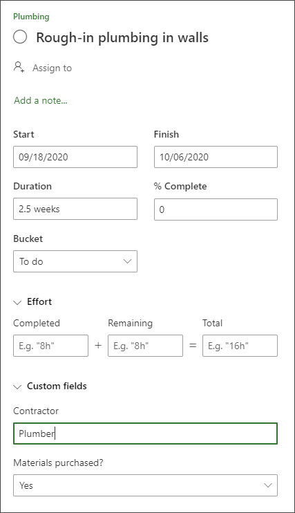 Screen shot from the details pane of a task showing Custom fields section