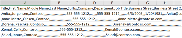 An example of a .csv file saved in .xls format.