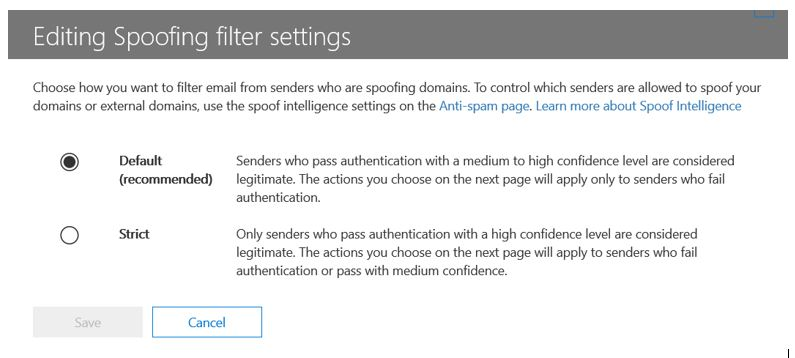 Antispoofing - modify settings