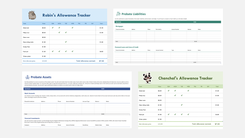 allowance tracker and probate templates