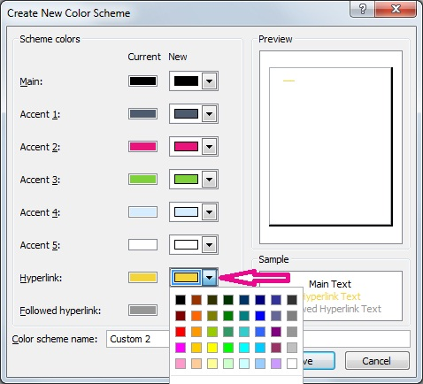Create a new Publisher color scheme to change hyperlink colors