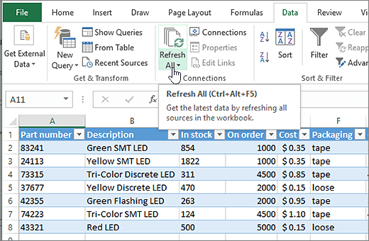 Excel spreadsheet with imported list and Refresh All button highlighted.