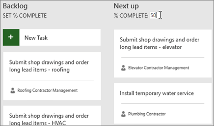 Screenshot of the Task Board, with the cursor entering the number 50 for % Complete