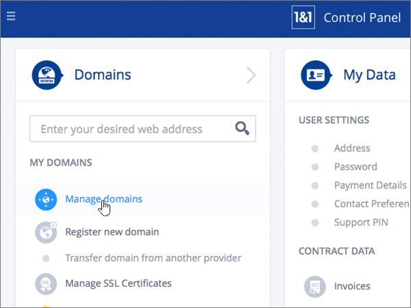 Clicking Manage domains