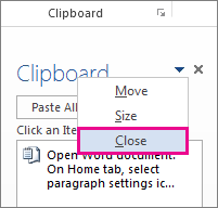 Closing the Clipboard in Word