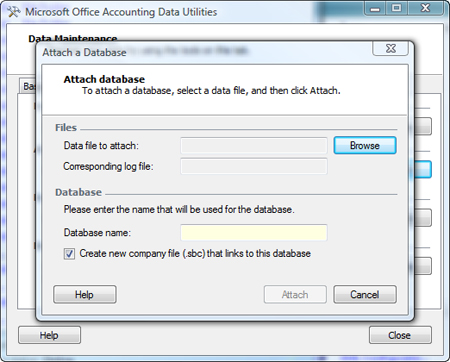 Attach a database