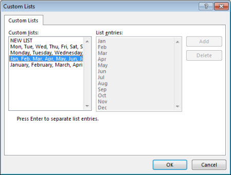Custom lists dialog box