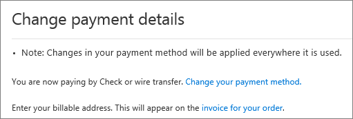 The Change payment details pane for a subscription that is currently paid by invoice.