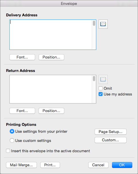Enter addresses and configure styles and options in the Envelope dialog box.