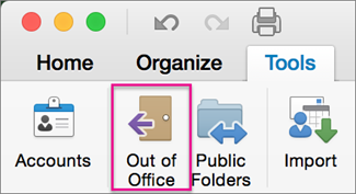 On the Tools tab, click Out of Office.