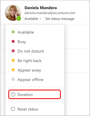 Duration on status menu
