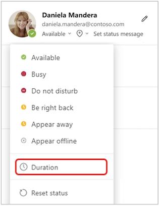 Duration on status menu