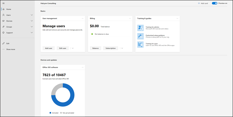 Screen capture: Microsoft 365 Admin Center Preview Home Page.