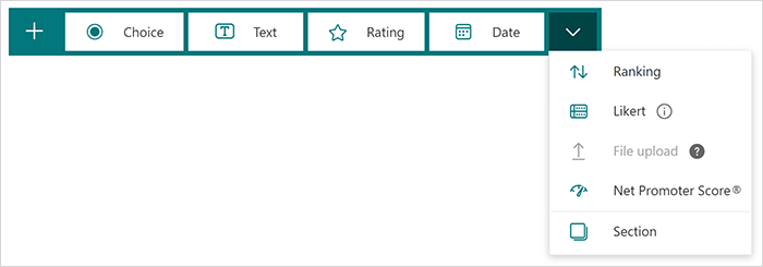 Question type options in Microsoft Forms