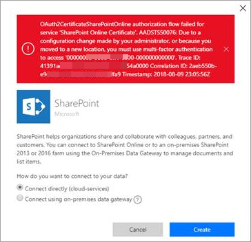 AADSTS50076 error when attempting to create a connection