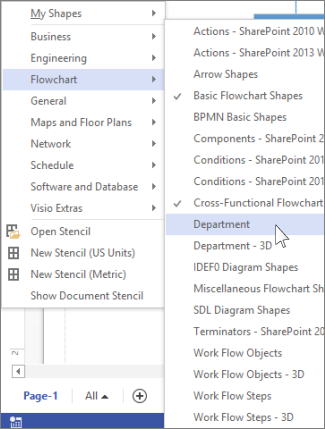 More shapes list in Visio