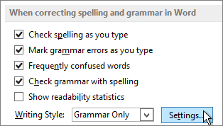 Spelling and grammar Settings button in Word