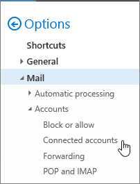 A screenshot of the Mail options menu showing Connected accounts under Accounts