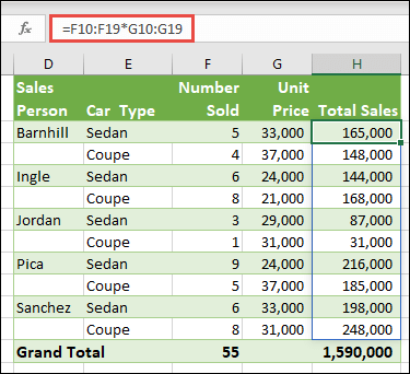 Multi-cell array function in cell H10 =F10:F19*G10:G19 to calculate number of cars sold by unit price