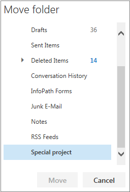 Mail move folder window that appears showing folder hierarchy for personal folders