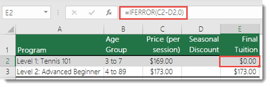 Use IFERROR() to suppress all errors - Formula in cell E2 is =IFERROR(C2-D2,0)