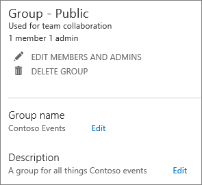 Edit existing group in admin center
