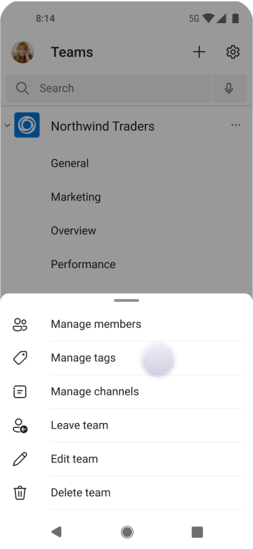 Manage tags in Teams using Android