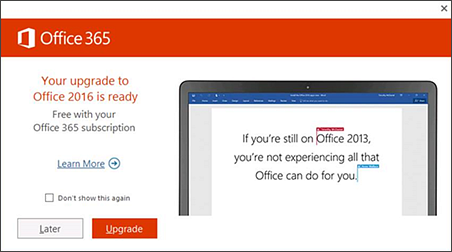 Screenshot of notice to upgrade to Office 2016