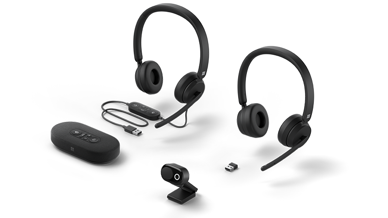 Device photo of new headsets, webcam, and speaker