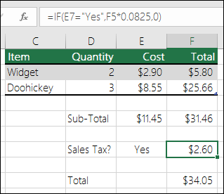 "Formula in Cell F7 is IF(E7=""Yes"",F5*0.0825,0)"