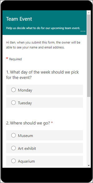 Preview of what a Form will look like on a mobile device.